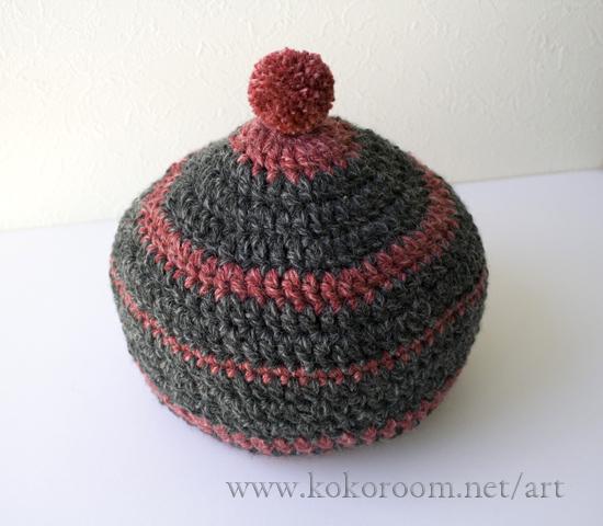 毛糸で土鍋カバーを編む