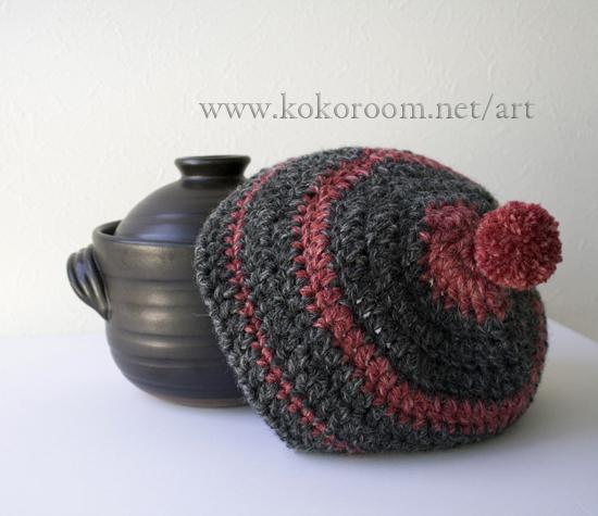 毛糸で編むご飯用の土鍋カバー