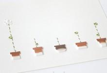 紙を縫う-brown 植木鉢