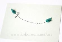 紙を縫う -bluegreen 鳥