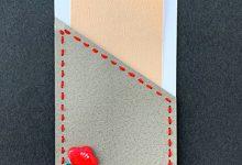 紙を縫う-ミニカード 椿
